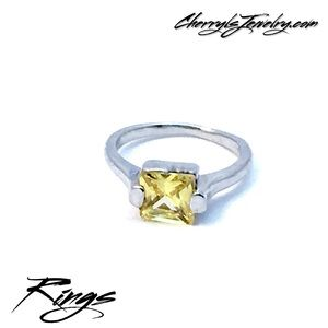 Jewelry - Square Cut Yellow Faux Citrine Silver Ring